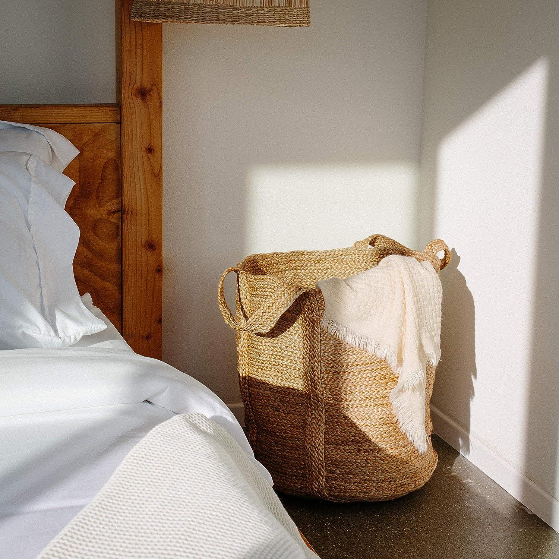 "17/"" x 17/"" Tall Decorative Blanket Basket for Living Room Bathroom or Nursery Wicker Laundry Hamper Basket with Handles Large Woven Storage Basket Jute Handmade Natural Seagrass Coiled Basket"