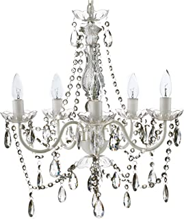 """The Original Gypsy Color 5 Light Medium Crystal Chandelier H21"""" W19"""", White Metal Frame with Clear Acrylic Crystals (Better than Glass)"""