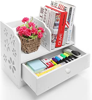 White Wood Cut Out Flower Design Book Storage Drawer & Display Shelf Rack / Desktop Organizer Bookcase