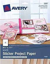 "Avery Printable Sticker Paper, Matte White, 8.5"" x 11"", Inkjet, 20 Sheets (44383)"