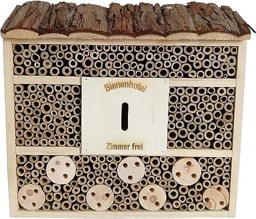 Dehner Natura Hôtel à Insectes Nomada, env. 29,5 x 9,5 x 28,5cm, Bois de pin, Sapin, Bambou, contreplaqué, Naturel