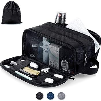 Lizzton Toiletry Bag for Men Travel Large Dopp Kit Water-resistant Women Shaving Bags, Portable Toiletries Storage Organizer, and one Drawstring Shoes Bag