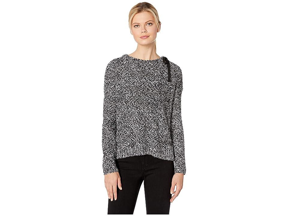 Lilla P Tie Neck Pullover Pompom Yarn Sweater (Black Pebble) Women