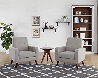 Funkeen Upholstered Accent Chair Modern Comfy Arm Chair Linen Fabric Single Sofa Chair Living Room Furniture Grey (Set of 1)