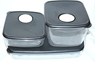 Tupperware Microwave Rock & Serve Storage Containers Clear w/ Black Lids, Set of 3