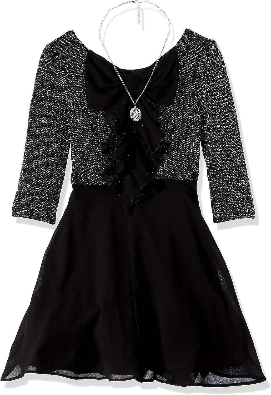 Amy Byer Girls' Big Lurex Knit Bow Back Dress with Chiffon Skirt