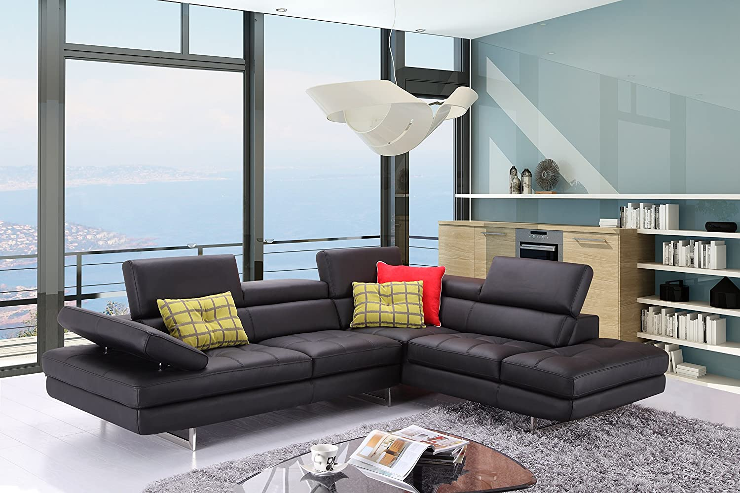 J and M Furniture A761 Italian Leather Sectional Slate Black, Right Hand Facing