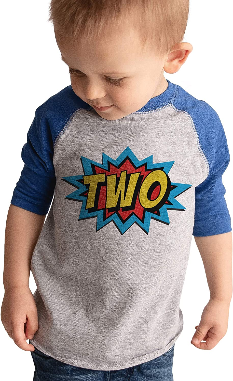 7 ate 9 Apparel 2nd Birthday Shirt for Boys Superhero 2 Year Old Boy Birthday Boy Comic Two T-Shirt Raglan Tee
