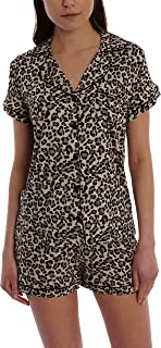 Women's Short Sleeve Button Down Sleep Shirt & Shorts PJ Set - Ladies Lounge & Sleepwear