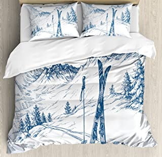 Ambesonne Winter Duvet Cover Set, Sketchy Graphic of a Downhill with Ski Elements in Snow Relax Calm View, Decorative 3 Piece Bedding Set with 2 Pillow Shams, Queen Size, White Blue