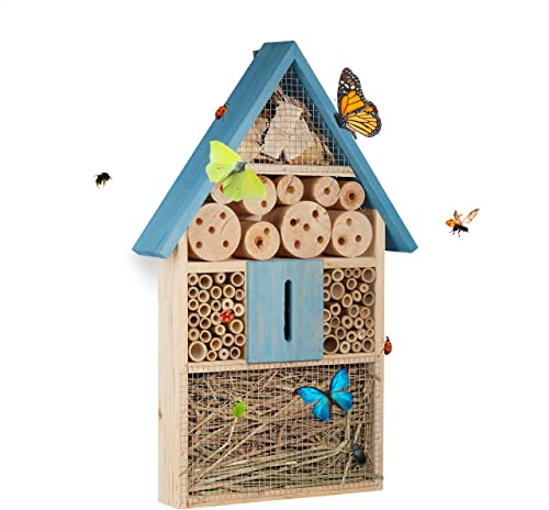 Relaxdays, bleu Hôtel à insectes à suspendre maison à papillon bois jardin balcon abeilles coccinelles HxlxP: 48,5 x ...