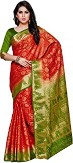 Kupinda Women's Artificial Tussar Silk Saree Patola Kanjivaram Style Color:Red (4101-2149-2D-RST-OLV)