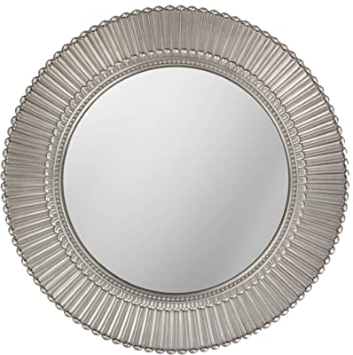 LuvBells Antique Silver Look Wall Mirror 20 inch Large Round Mirror Living Room Bedroom Circular Mirror Ornamental Round Mirrors for Wall Decor Antique Silver Decorative Mirrors for Bedroom (Plastic Frame)