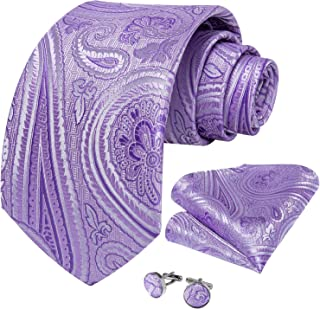 DiBanGu Paisley Necktie Silk Tie Pocket Square Set for Men Formal Handkerchief and Cufflink Wedding Prom