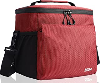 MIER Insulated Lunch Bag Men and Women Soft Cooler Lunch Box Tote with Shoulder Strap, Leakproof Liner, 24 Can,Pure Red