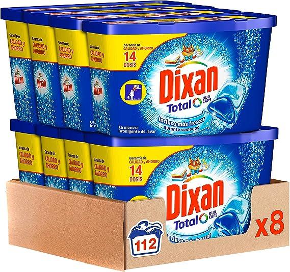 TALLA 112 Lavados. Dixan Detergente en Cápsulas, 8 cajas de 14 Dosis, total 112 lavados