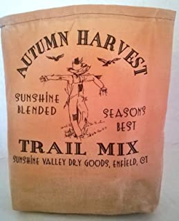 000 – Autumn Harvest Trail Mix Fabric Feed Sack Luminary Bag with Country, Primitive, Vintage Image. Battery Operated Flickering Candle and Candle Holder Included.
