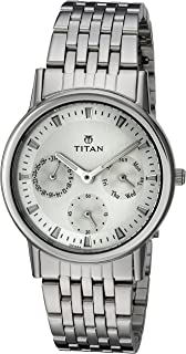 Titan Women's 'Neo' Fashion/Casual/Business/Luxury Mineral Quartz Dial -Leather/Brass and Silver Toned Strap