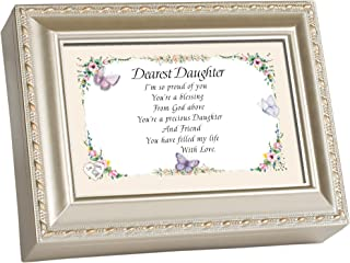 Cottage Garden Dearest Daughter Champagne Silver Traditional Music Box Plays Light Up My Life
