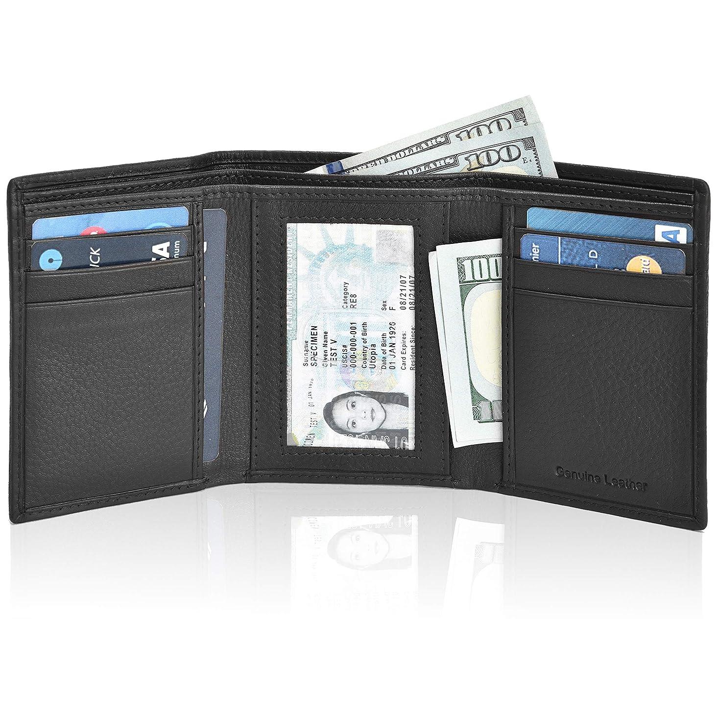 Slim Leather wallets for Men – Slim wallet trifold wallet RFID Leather wallet for men leather wallet mens slim wallet small