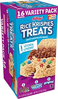 Kellogg's Rice Krispies Marshmallow Treats - School Lunch Variety Pack, Original, M&M, Cocoa Krispies with Writable Wrappers (16 Count)
