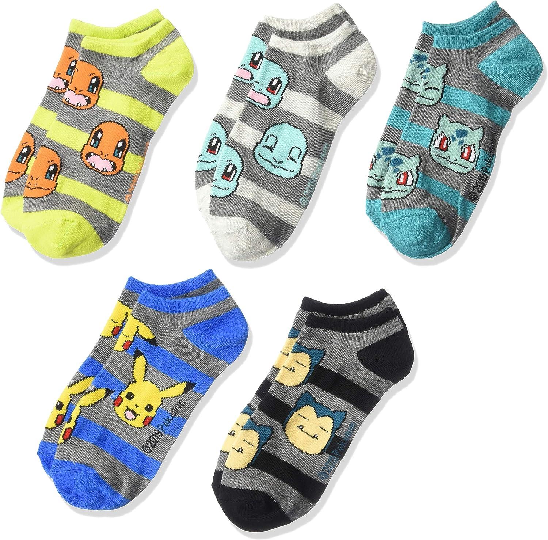 Pokemon Boys 5 Pack No Show Socks