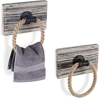 MyGift Urban Rustic Wall-Mounted Torched Wood & Rope Towel Rings, Set of 2
