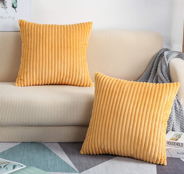 TangDepot Set of 2 Soft Genuine Plush Solid Big Corduroy Velvet Striped Sale item