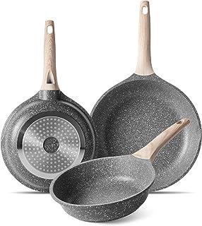 ZUOFENG Poêle à Frire Antiadhésive 20CM + 24CM + 28CM, Casseroles en Pierre, Revêtement de Granit, Poêle à Omelette Casser...