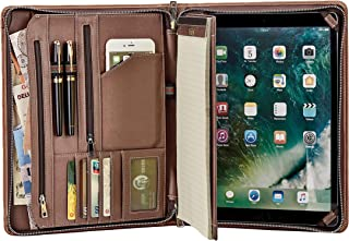 Handcrafted Vintage Leather Portfolio, Business Zipper Document Folder for Letter Size Notepad, Tablet Padfolio Case, Crazy Horse Cow Leather (10.5/11-inch iPad Pro/Air)