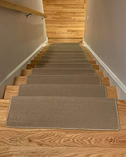 Bullnose Indoor Skid Slip Resistant Carpet Stair Treads with Adhesive Strips (10 ½ inch x 30 inch) (Beige, Set of 13)