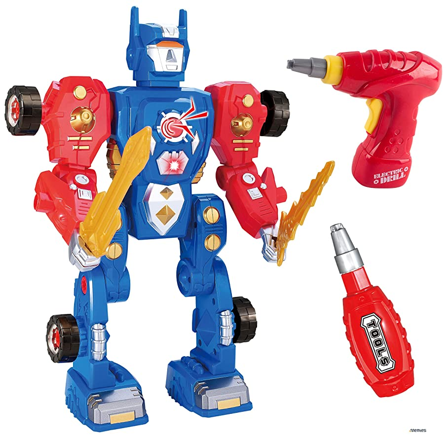 ヒューズ曖昧なセラーMemtes Take-A-Part ロボット組み立ておもちゃ 光と音 パワードリル (31ピース)