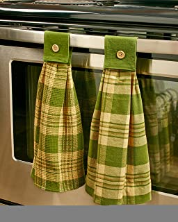The Lakeside Collection Rustic Country Kitchen Towels - Set of 2 Hanging Hand & Dish Cloths - Pine