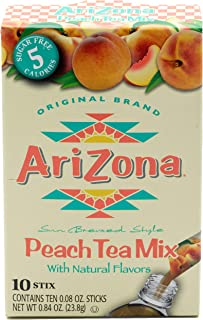 AriZona Peach Iced Tea Iced Tea Stix Sugar Free, 10Countper Box (Pack of 6), Low Calorie Single Serving Drink Powder Packets, Just Add Water for a Deliciously Refreshing Iced Tea Beverage