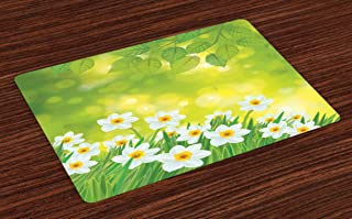 Ambesonne Daffodil Place Mats Set of 4, Daffodils Under Vibrant Tree Branch Leaves Spring Petals Seasonal Foliage Theme, Washable Fabric Placemats for Dining Table, Standard Size, Green Yellow