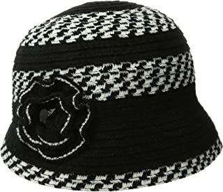 Women's Chenille Cloche Hat with Flower and Jewls