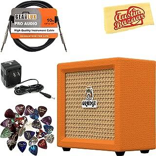 Orange Crush Mini Guitar Combo Amplifier Bundle with Power Supply, Instrument Cable, 24 Picks, and Austin Bazaar Polishing Cloth