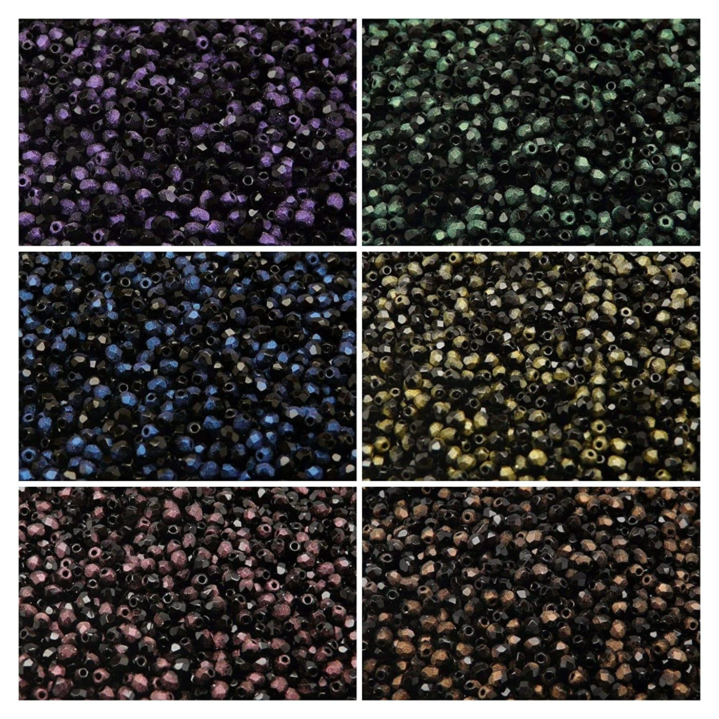 600 beads 6 colors Unique Set 307 Czech Fire-Polished Faceted Glass Beads Round 3 mm, 3FP052 3FP053 3FP054 3FP055 3FP056 3FP057