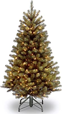 National Tree Company Pre-lit Artificial Christmas Tree   Includes Pre-strung White Lights and Stand   North Valley Spruce - 4.5 ft
