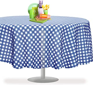 Blue Gingham Checkered 6 Pack Premium Disposable Plastic Picnic Tablecloth 84