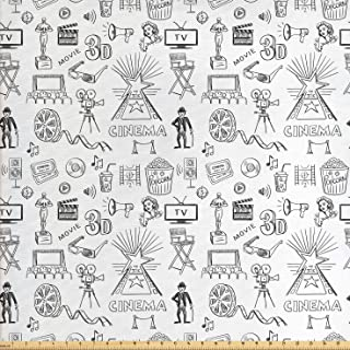 Ambesonne Movie Theater Fabric by The Yard, Hand Drawn Style Cinema Pattern with Various Different, Decorative Fabric for Upholstery and Home Accents, 1 Yard, White Charcoal