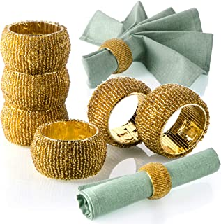 Anchor Life Handmade Napkin Rings - Gold Beaded Set of 6 for Wedding and Dinner Party Table Arrangement - Special Event Presentation