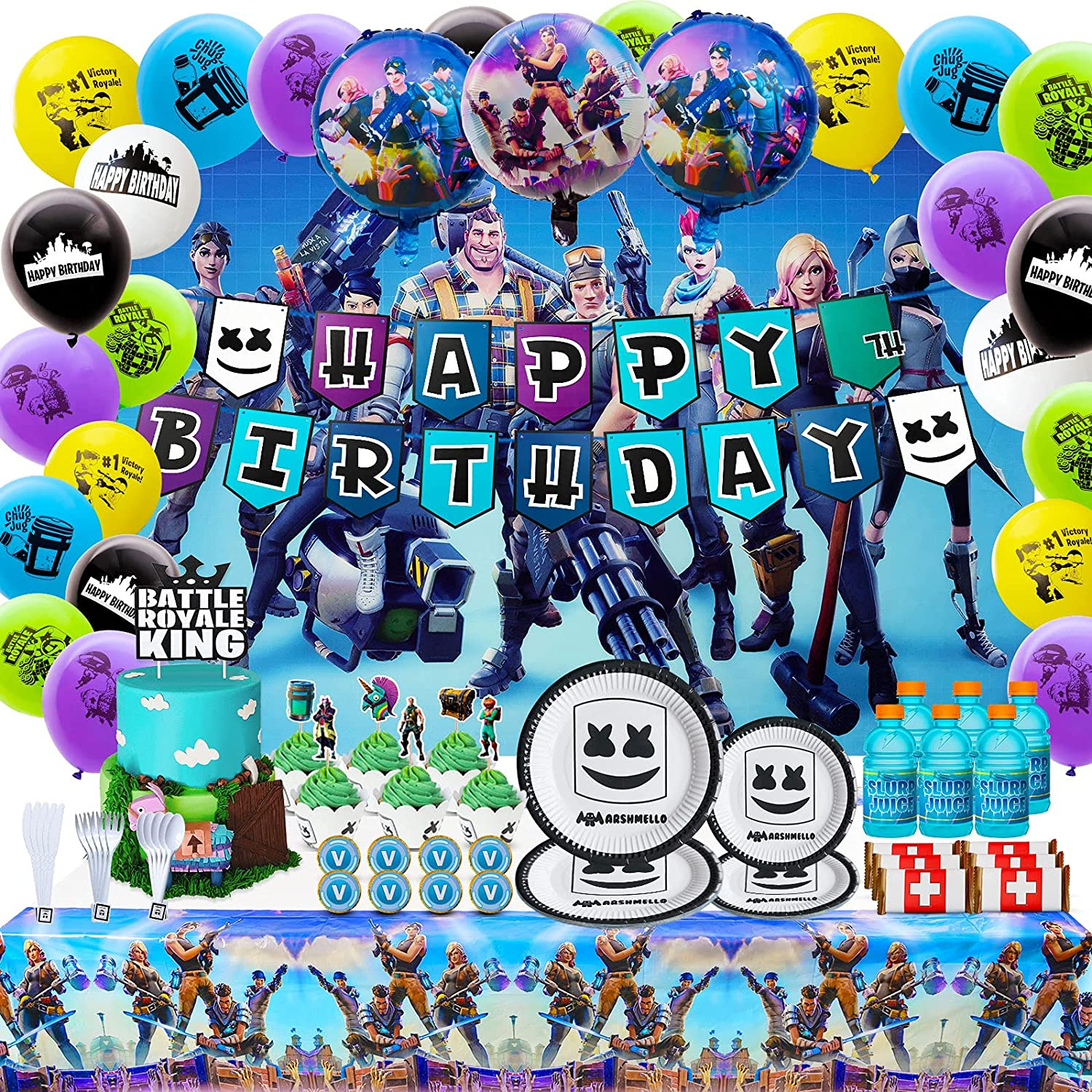 6. Fortnite Birthday Party Supplies and Decoration