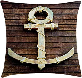 Ambesonne Anchor Throw Pillow Cushion Cover, Old Wooden Nautical Anchor on The Deck Harbor Yacht Craft Navigation Drogue, ...