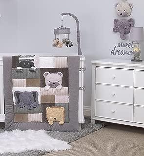 NoJo Play Day Pals Elephant/Bear/Lion/Zebra Animal 4 Piece Nursery Crib Bedding Set, Grey, Tan, Taupe, White