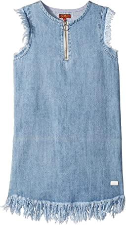 Zip Front Flutter Sleeve Denim Dress (Big Kids)