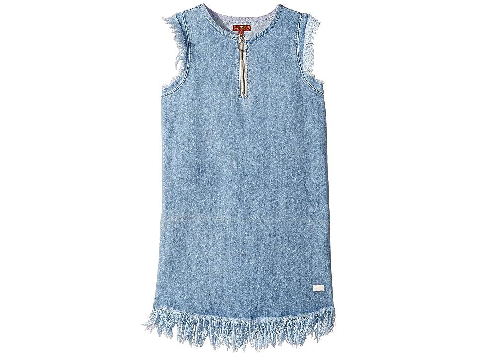 7 For All Mankind Kids Zip Front Flutter Sleeve Denim Dress (Big Kids) (Vintage Blues) Girl
