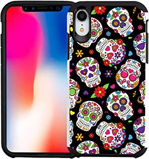 iPhone XR Case, Dual Layer Shock Proof Bumper Protective Phone Cover for Apple iPhone XR 2018 Release - Sugar Skull