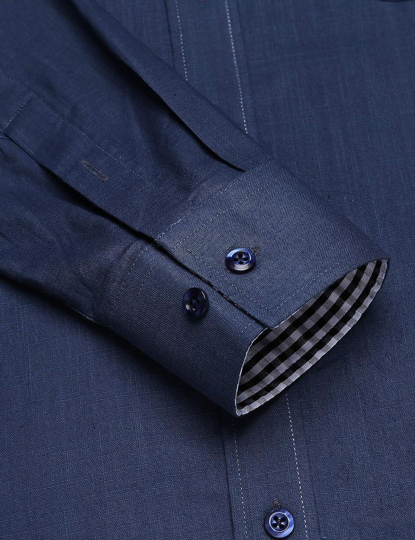 COOFANDY Men's Cotton Linen Shirt Regular Fit Solid Button Down Shirt Casual Long-Sleeve Beach Dress Shirt