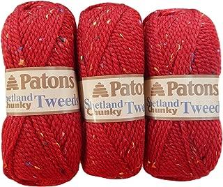 Patons Shetland Chunky Tweed Yarn ( 3 Pack) Bulky Acrylic Wool Blend ( Deep Red)